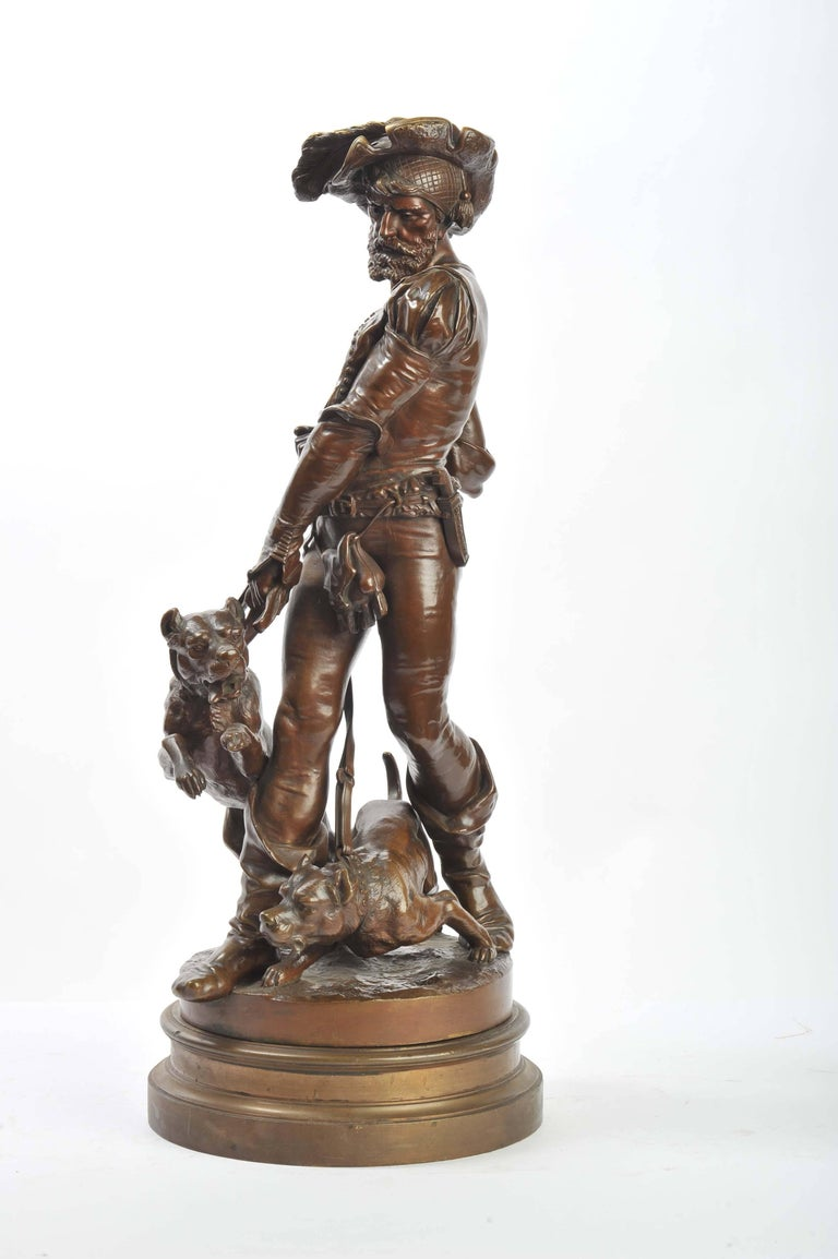 French Bronze Houndsman, by Henri Honoré Plé For Sale