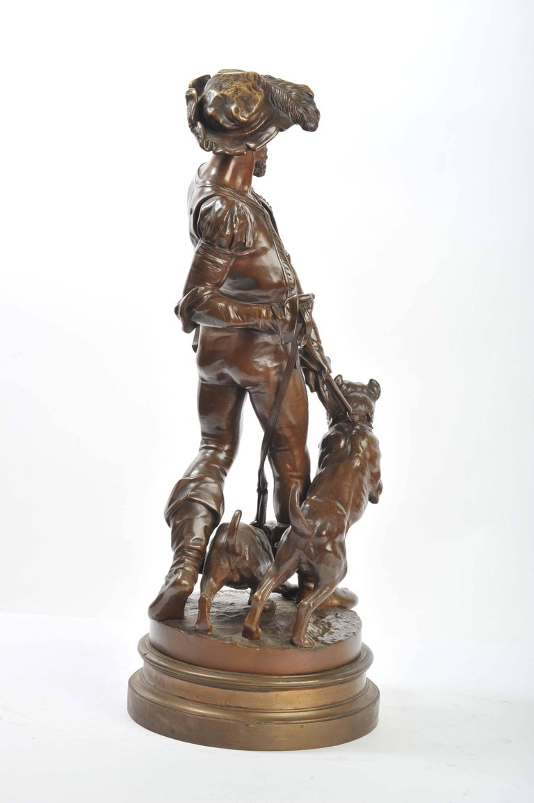 Late 19th Century Bronze Houndsman, by Henri Honoré Plé For Sale