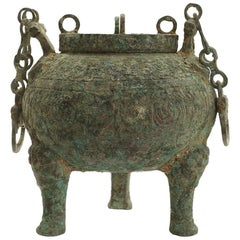 Bronze Hu Ceremonial Vessel Chinese Han Dynasty with Cover