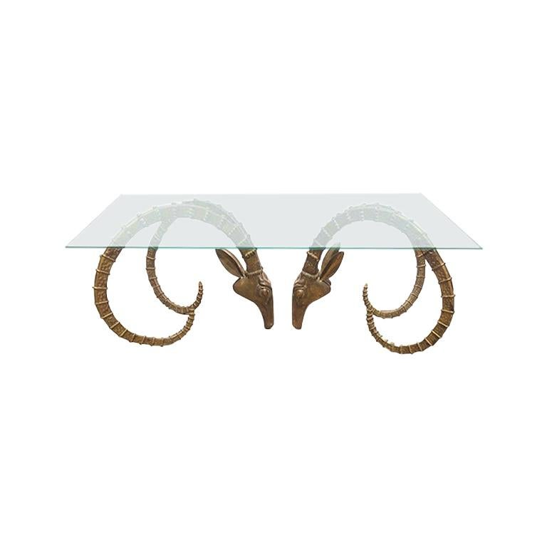 Bronze Ibex Ram Head Glass Cocktail or Coffee Table attributed to Alain Chervet