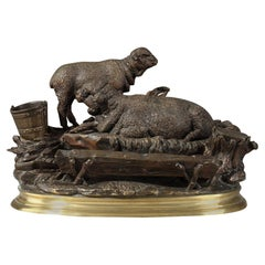 """Bronze Inkwell Sculpture """"Les Moutons à L'abreuvoir"""" by Jules Moigniez"""