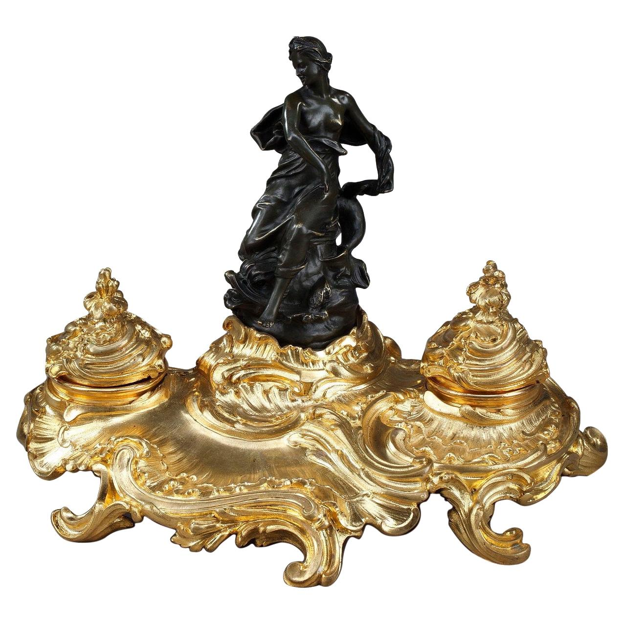 Bronze Inkwell with a Goddess in the Antique Style