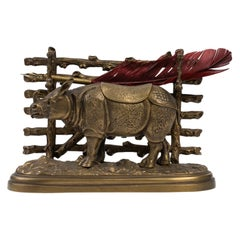 Bronze Inkwell with Rhinoceros