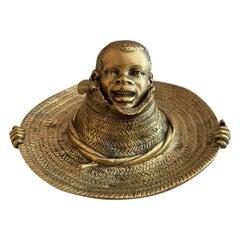 Bronze Inkwell, Young Black Boy Straw Hat, Black Americana, ca. 1900
