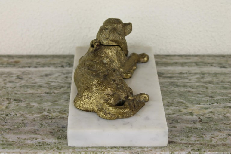 Bronze Irish Setter Dog Inkwell on Marble Base, Art Deco, 1930s For Sale 5