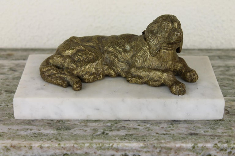 Bronze Irish Setter Dog Inkwell on Marble Base, Art Deco, 1930s For Sale 8