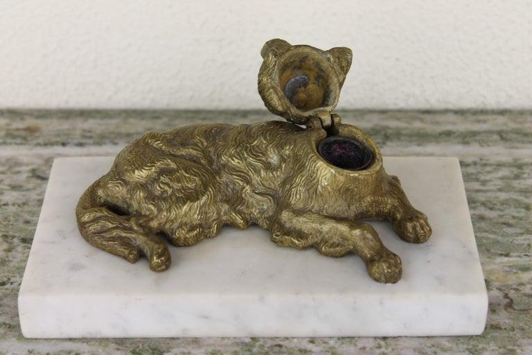 Bronze Irish Setter Dog Inkwell on Marble Base, Art Deco, 1930s For Sale 9