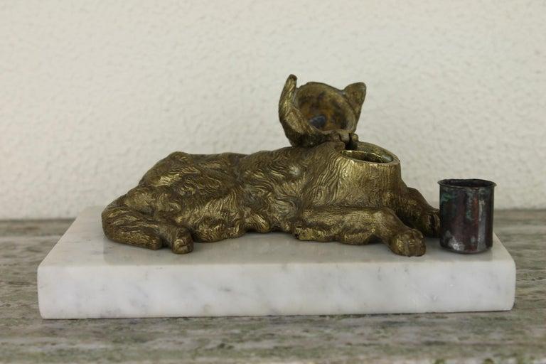 Bronze Irish Setter Dog Inkwell on Marble Base, Art Deco, 1930s For Sale 10