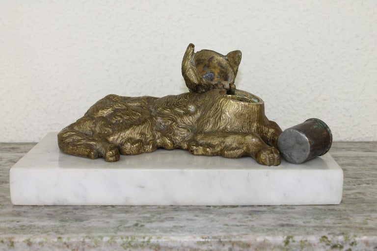 Bronze Irish Setter Dog Inkwell on Marble Base, Art Deco, 1930s For Sale 11