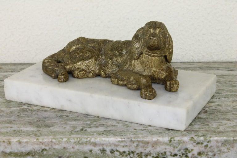 Bronze Irish Setter Dog Inkwell on Marble Base, Art Deco, 1930s For Sale 12