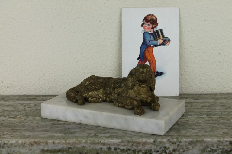 Bronze Irish Setter Dog Inkwell on Marble Base, Art Deco, 1930s For Sale 14