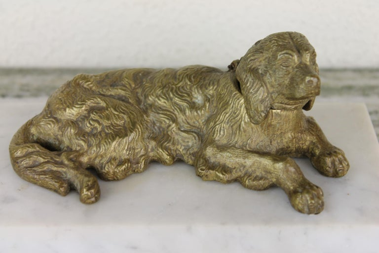 Art Deco Inkwell with Irish Setter Dog.  This Inkstand has a Marble Base, a bronze Irish Setter Sculpture and a copper and tin well - inkwell.  This Desk accessory with a sporting-dog - hunting dog will look great in your interior.   Irish Setter