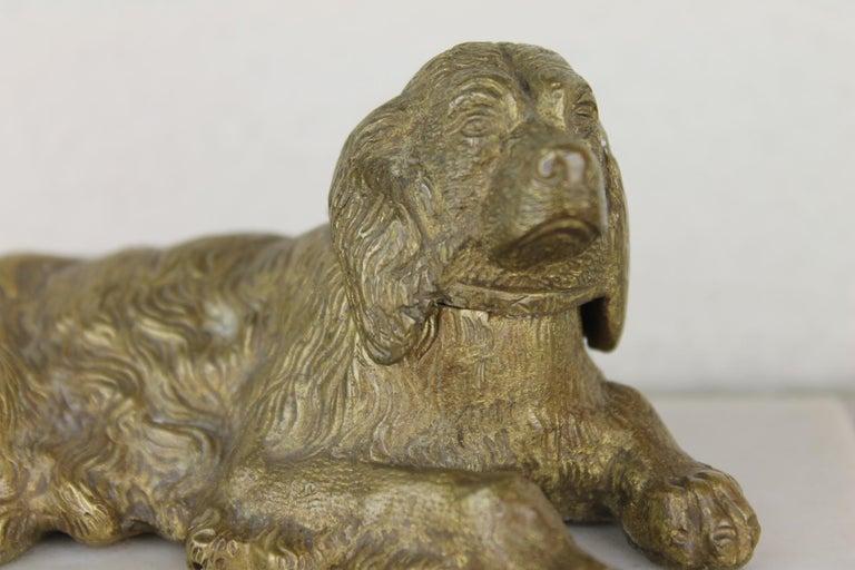 Bronze Irish Setter Dog Inkwell on Marble Base, Art Deco, 1930s For Sale 15
