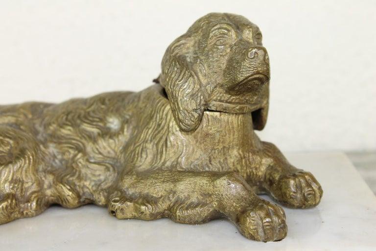 European Bronze Irish Setter Dog Inkwell on Marble Base, Art Deco, 1930s For Sale