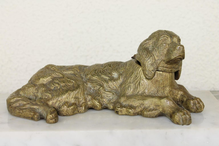Bronze Irish Setter Dog Inkwell on Marble Base, Art Deco, 1930s In Good Condition For Sale In Antwerp, BE