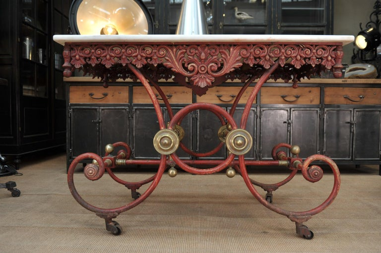 Bronze Iron and Marble Butcher's Table circa 1900 For Sale 5