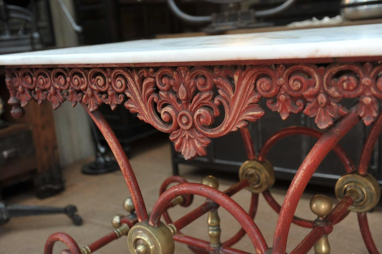 Bronze Iron and Marble Butcher's Table circa 1900 For Sale 6