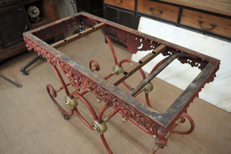 Bronze Iron and Marble Butcher's Table circa 1900 For Sale 7