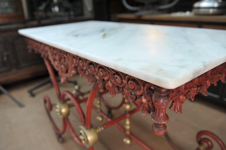 Bronze Iron and Marble Butcher's Table circa 1900 For Sale 8
