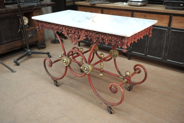 Bronze Iron and Marble Butcher's Table circa 1900 For Sale 9