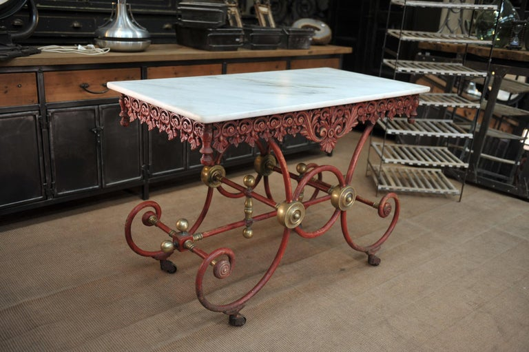 Iron and bronze Butcher's work or center Table original red color and marble in very good condition , France circa 1900