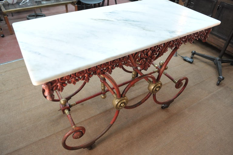 Art Nouveau Bronze Iron and Marble Butcher's Table circa 1900 For Sale