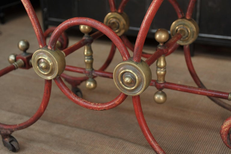 European Bronze Iron and Marble Butcher's Table circa 1900 For Sale