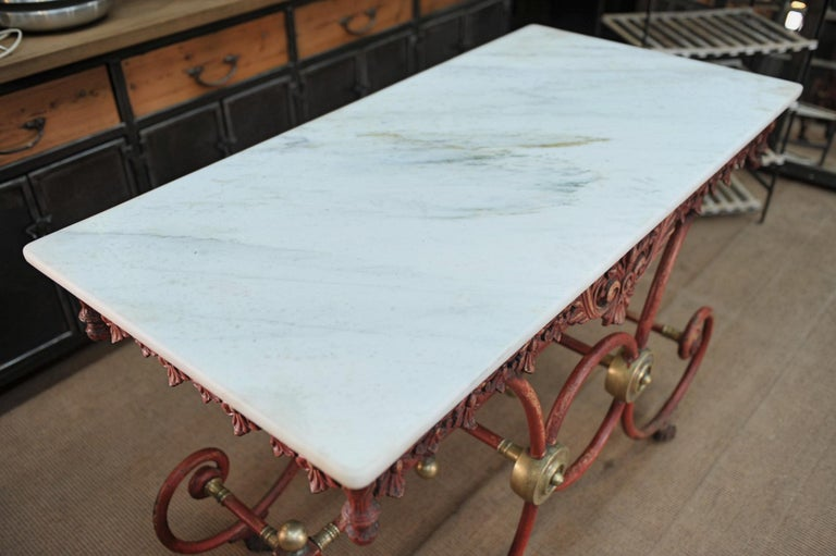 Bronze Iron and Marble Butcher's Table circa 1900 In Good Condition For Sale In Roubaix, FR