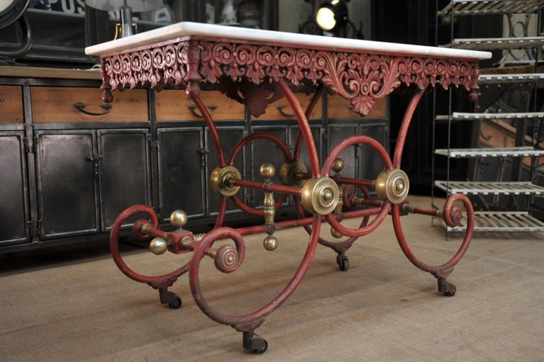 Early 20th Century Bronze Iron and Marble Butcher's Table circa 1900 For Sale