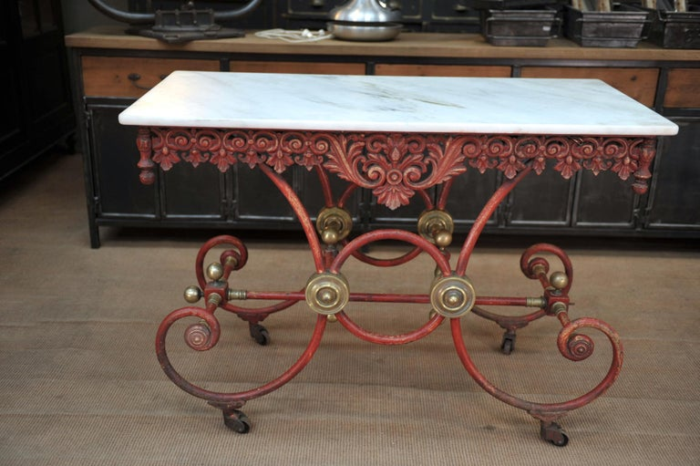 Bronze Iron and Marble Butcher's Table circa 1900 For Sale 1