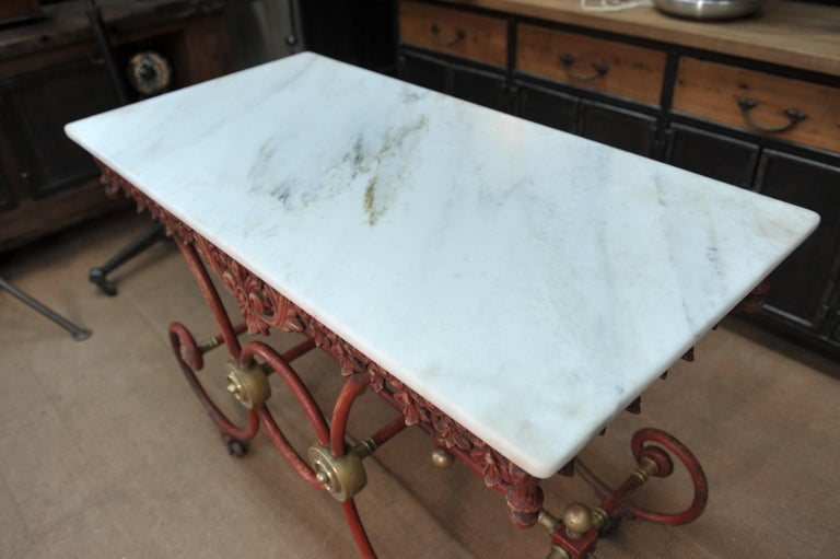 Bronze Iron and Marble Butcher's Table circa 1900 For Sale 3