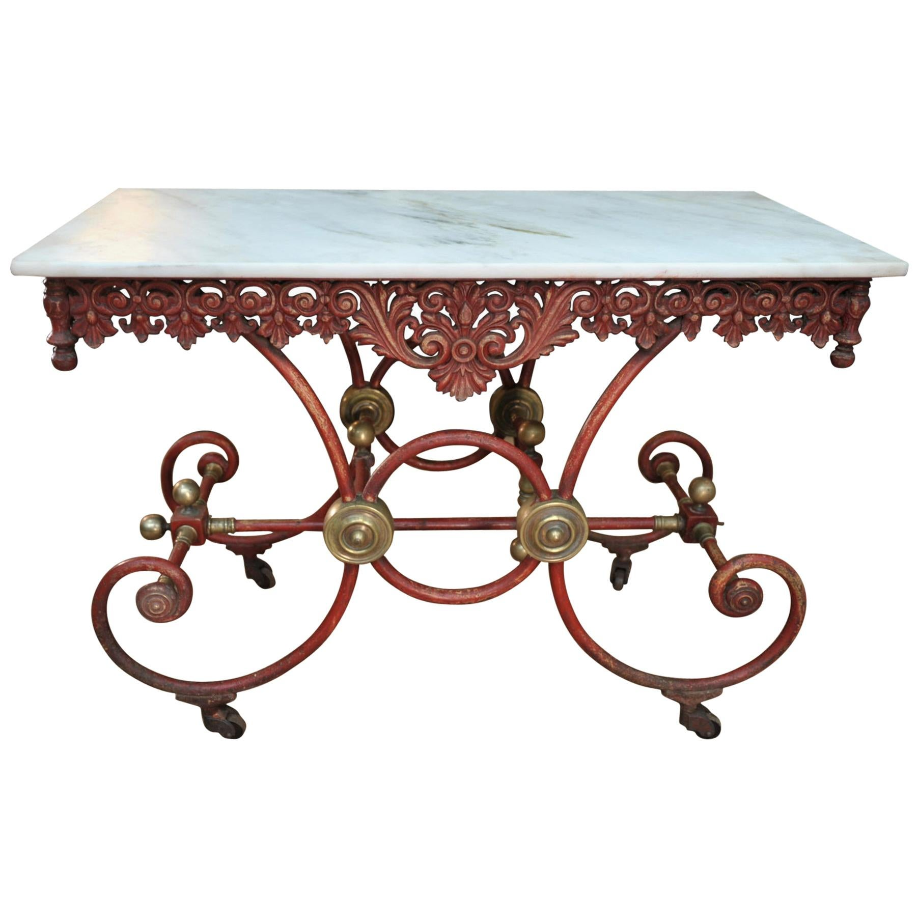 Bronze Iron and Marble Butcher's Table circa 1900