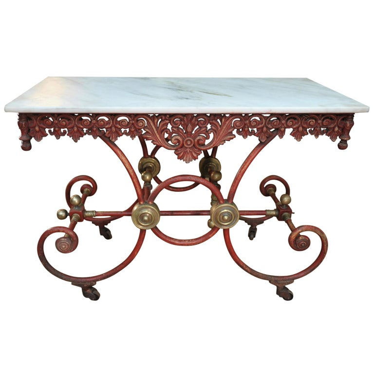 Bronze Iron and Marble Butcher's Table circa 1900 For Sale