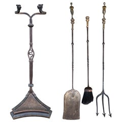 Bronze & Iron Fire Tools Set with Stand, in the Style of Yellen, circa 1900