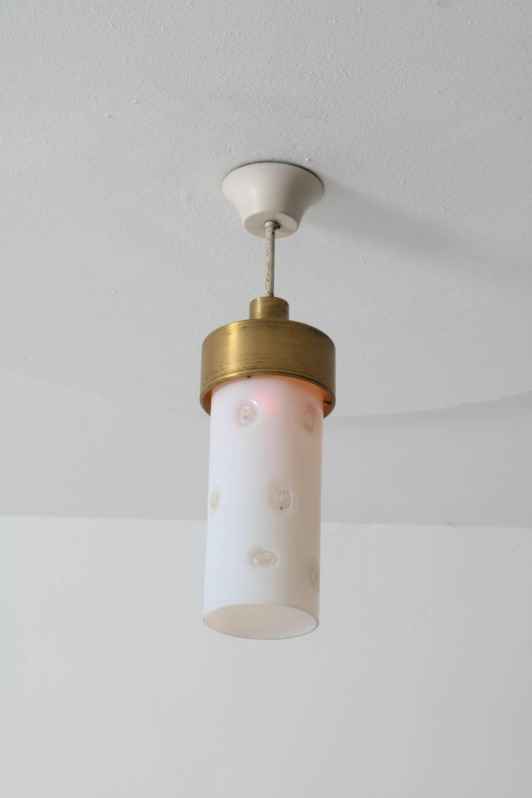 Bronze Italian Mid-Century Modern Pendant Light with Murano Glass Shade, 1960s For Sale 5
