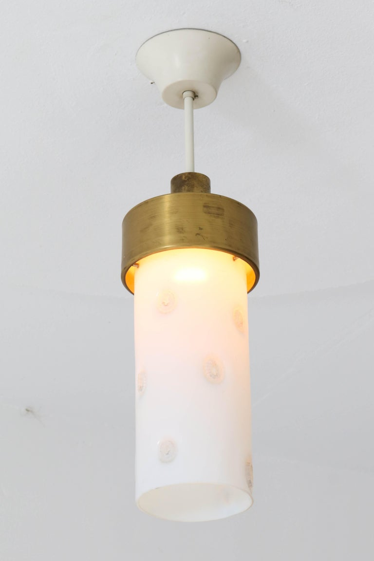 Stunning and rare Mid-Century Modern pendant light. Striking Italian design from the 1960s. Bronze and metal pendant with original Murano glass shade. All five pendants are in very good condition, shades are not broken or chipped! Price is per