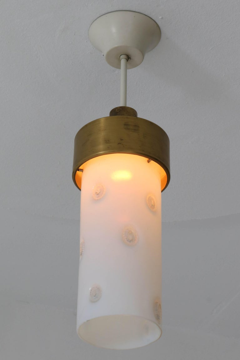 Mid-20th Century Bronze Italian Mid-Century Modern Pendant Light with Murano Glass Shade, 1960s For Sale