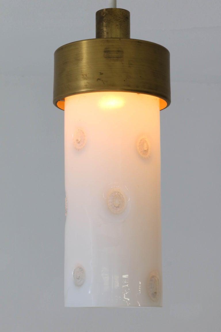 Bronze Italian Mid-Century Modern Pendant Light with Murano Glass Shade, 1960s For Sale 1
