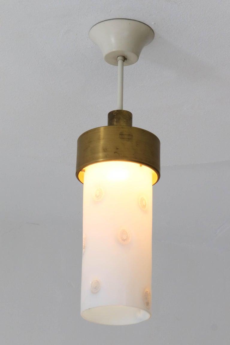 Bronze Italian Mid-Century Modern Pendant Light with Murano Glass Shade, 1960s For Sale 2