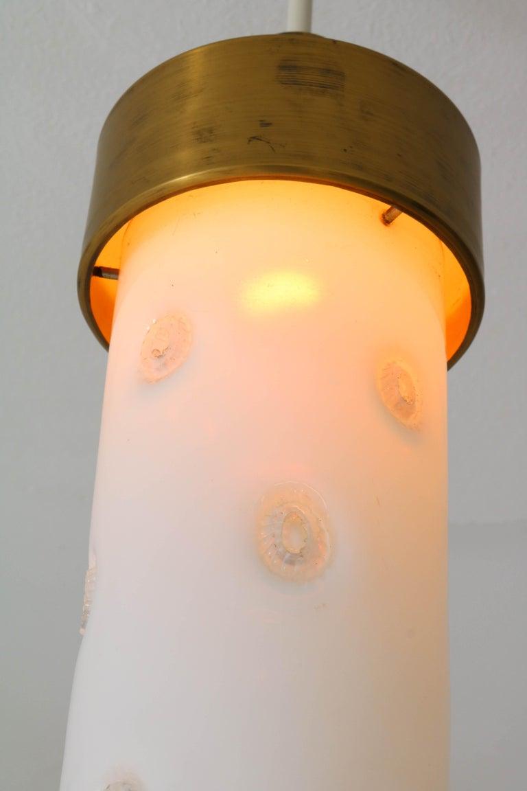 Bronze Italian Mid-Century Modern Pendant Light with Murano Glass Shade, 1960s For Sale 3