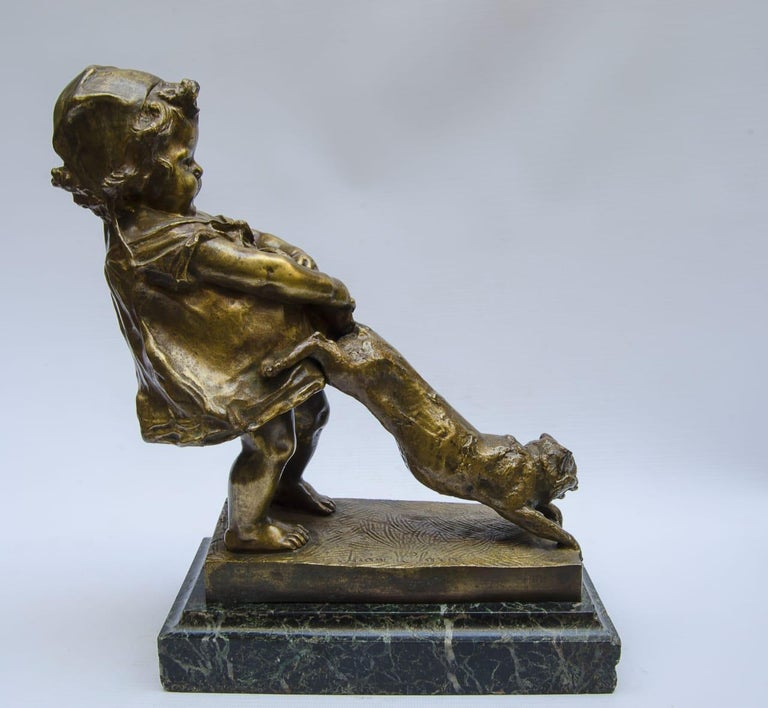 Bronze Juan Clara Foundry Goldscheider marble base (green apple) perfect condition (France) Art Nuveau, circa 1920.