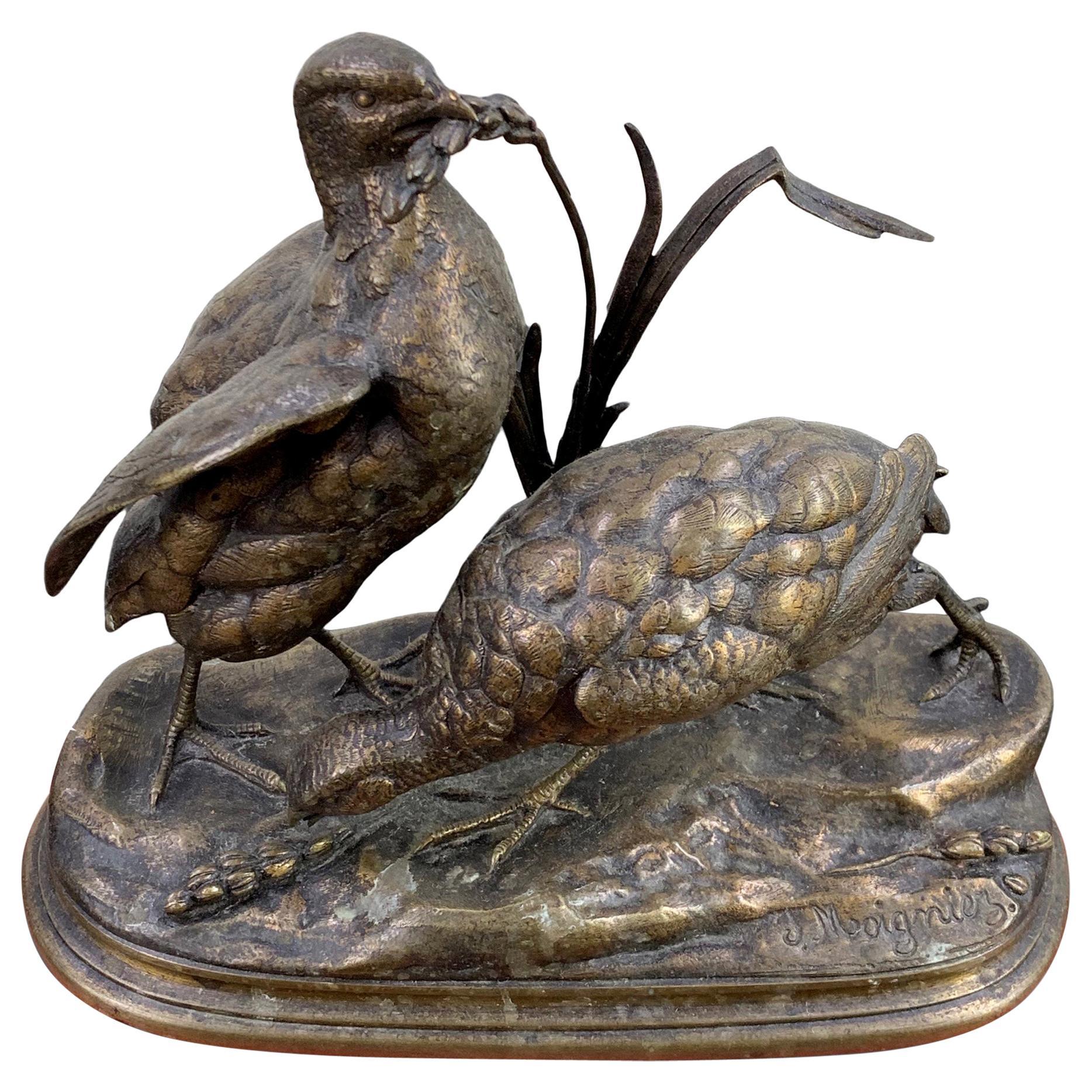 Bronze Jules Moigniez Figurative Animal Sculpture of Two Pheasants