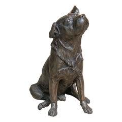 Mid-20th Century Bronze Animalier Labrador Dog Sculpture by Franz Canins