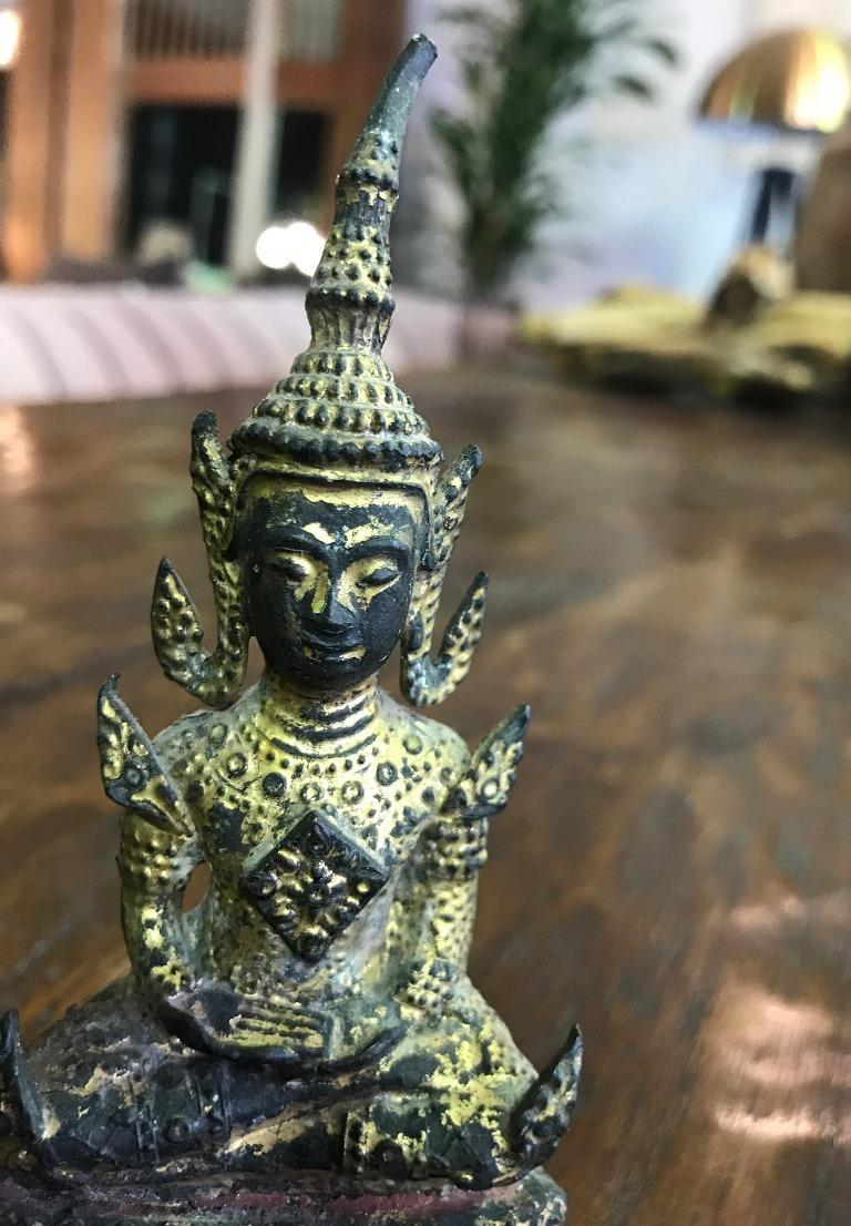 Nice little temple Buddha seated on throne in blissful meditation. Solid for its size. Listing as 20th century but could very well be 19th century. From a collection of Asian antique and vintage Buddhas.   Dimensions: 5