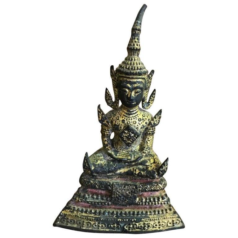 Bronze, Lacquer and Gilt Seated Ratanakosin Thai/ Siam Buddha For Sale
