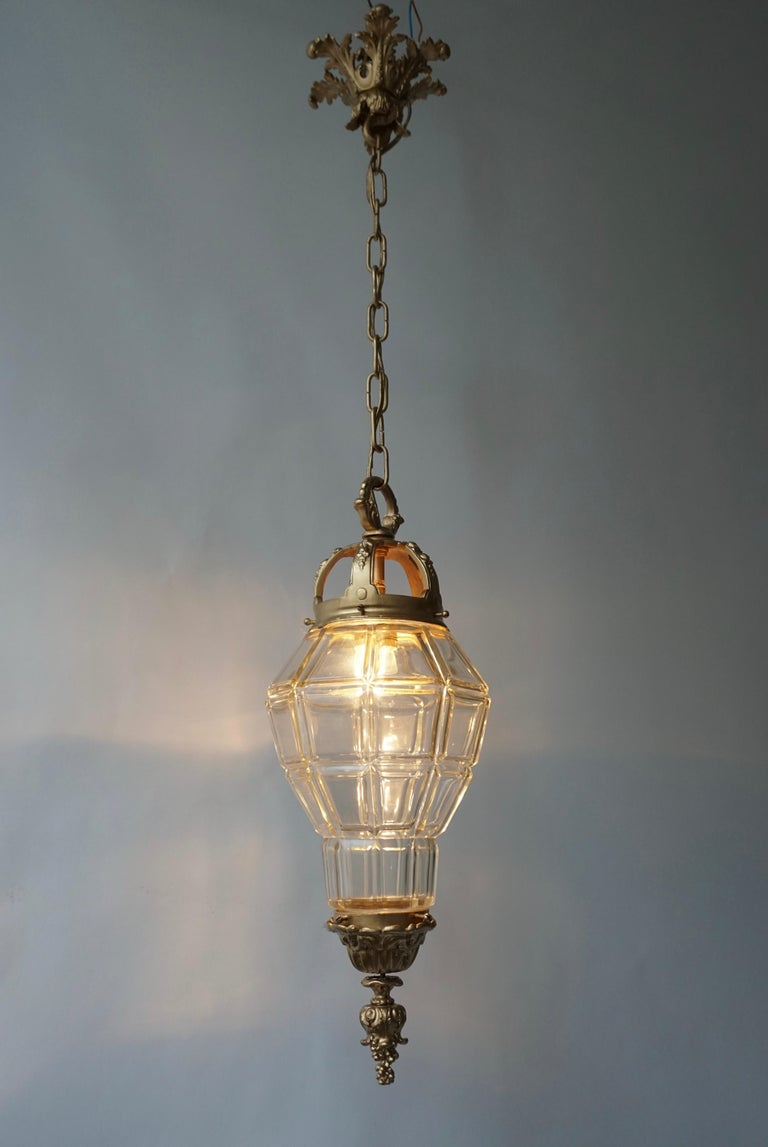 Bronze and crystal lantern.