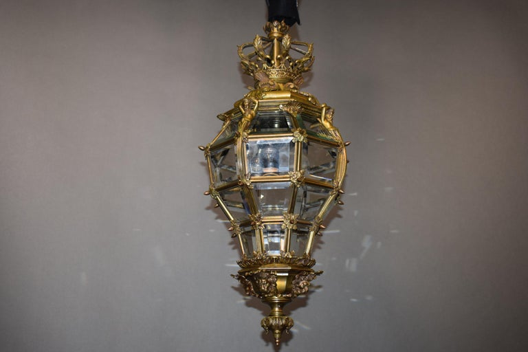 Bronze Lantern with Hand Beveled Crystal Panels For Sale 5