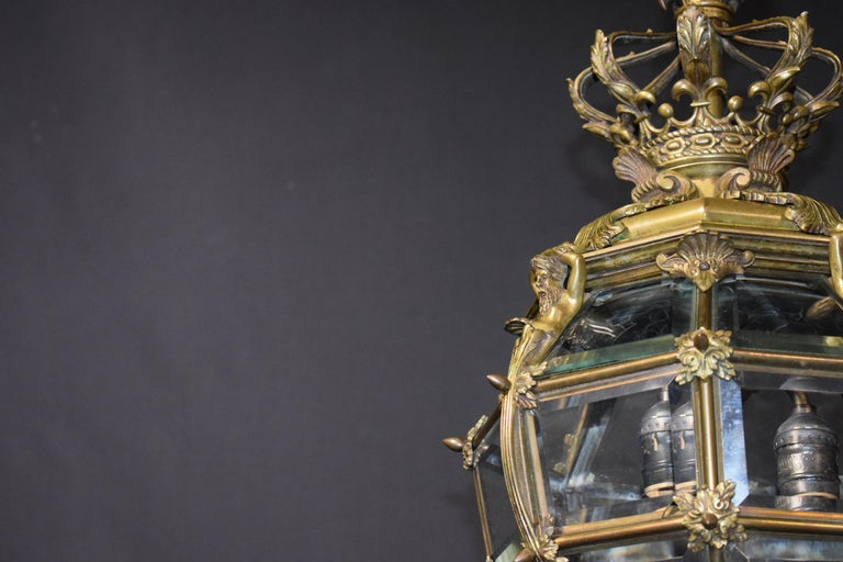 Bronze Lantern with Hand Beveled Crystal Panels For Sale 7