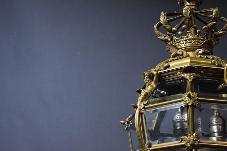 Bronze Lantern with Hand Beveled Crystal Panels For Sale 8
