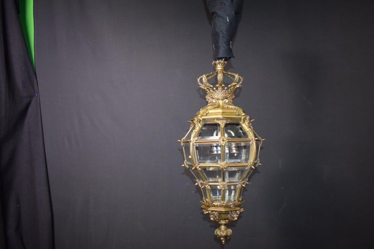 Bronze Lantern with Hand Beveled Crystal Panels For Sale 9